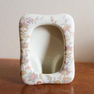 vtg 1960s japanese floral ceramic picture frame